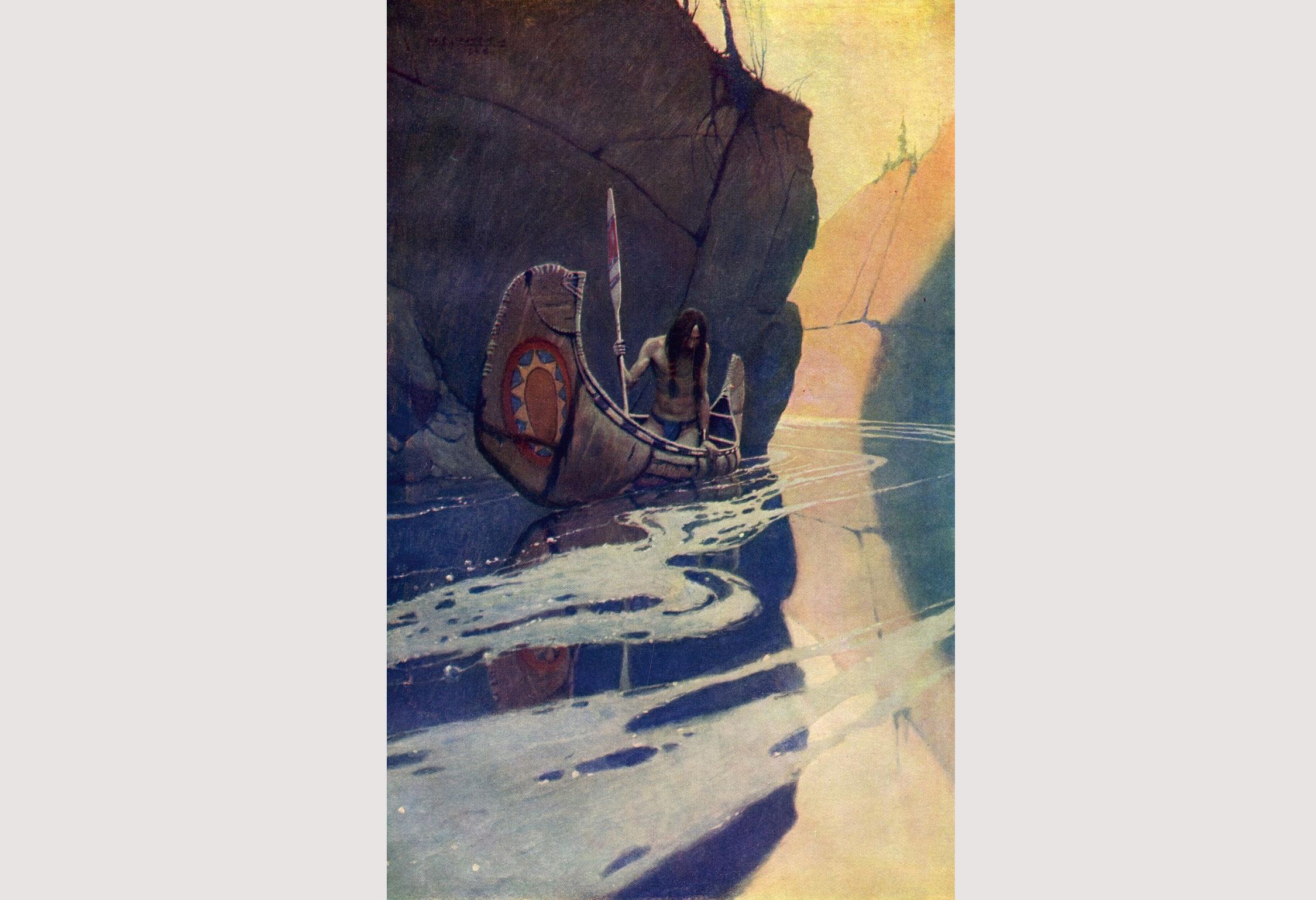 image of a man in a boat by a rock by NC Wyeth