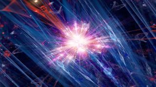 Colorful fission of particle in collider, computer generated abstract background, 3D rendering.