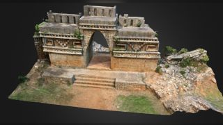 A 3D digital image of Labna, an ancient Maya structure in the Puuc region.