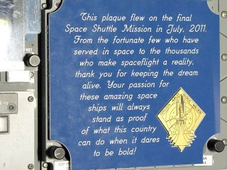 Space shuttle plaque on Atlantis by final crew.