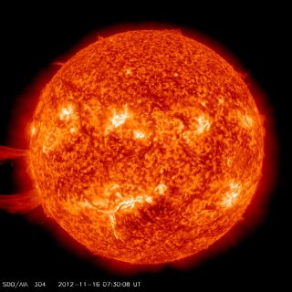 A giant solar prominence erupts from the sun on Nov. 16, 2012, in this image captured by NASA's sun-watching Solar Dynamics Observatory.