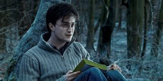 Harry Potter (Daniel Radcliffe) reads in Harry Potter and the Deathly Hallows - Part