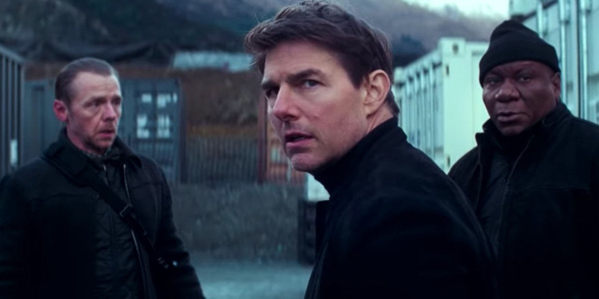 Mission: Impossible - Fallout Simon Pegg, Tom Cruise, and Ving Rhames in the field, looking rather concerned
