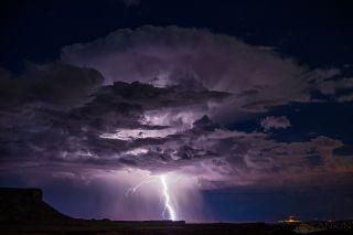 lightning strikes during a thunderstorm