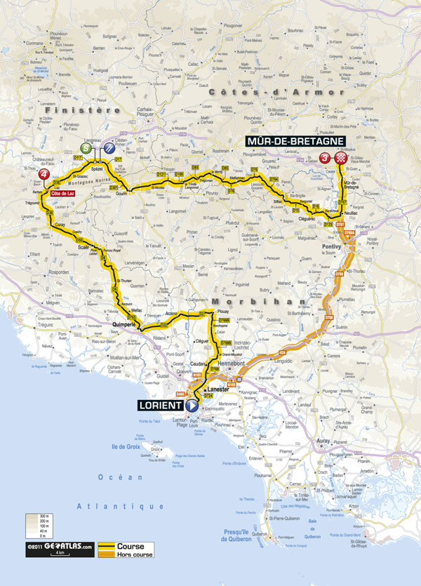 Stage 4 map, Tour de France 2011