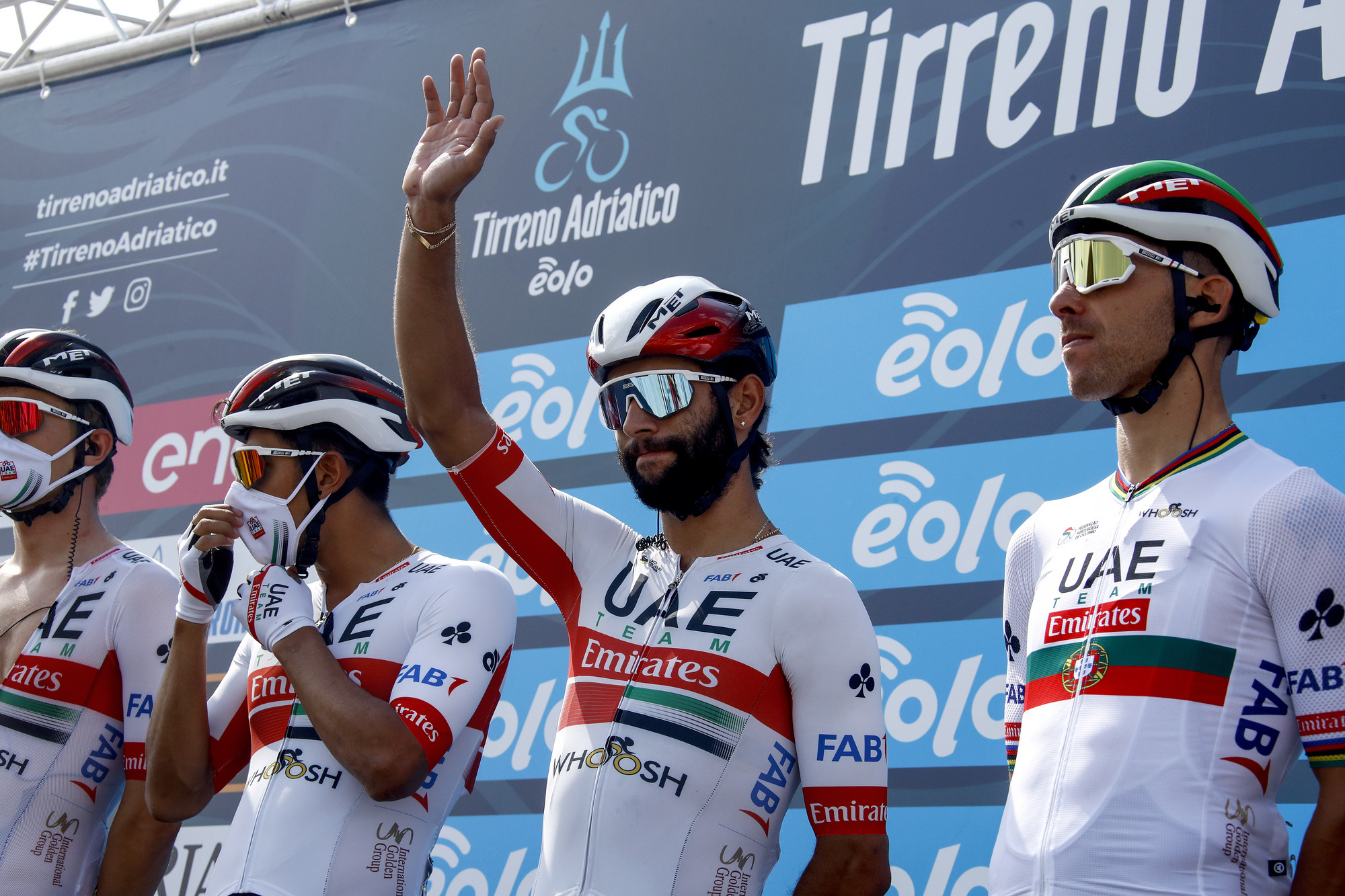 Tirreno Adriatico 2020 55th Edition 1st stage Lido di Camaiore Lido di Camaiore 133 km 07092020 Fernando Gaviria COL UAE Team Emirates photo Roberto BettiniBettiniPhoto2020
