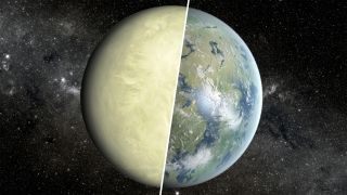 An artist's concept showing a super-Venus on the left and Earth on the right.