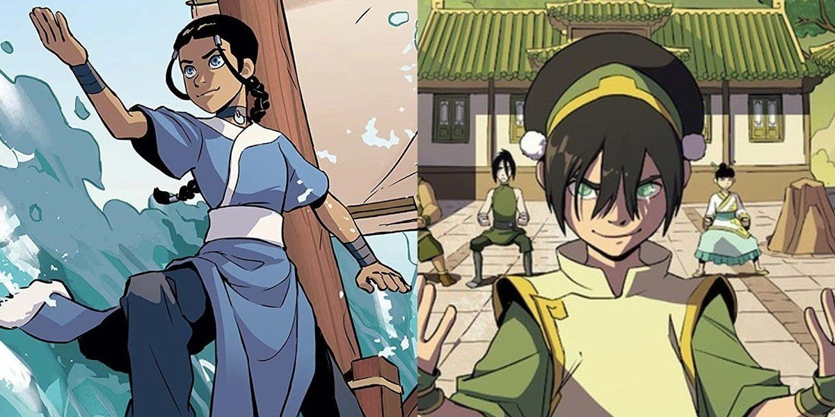 Katara on the left, Toph on the right