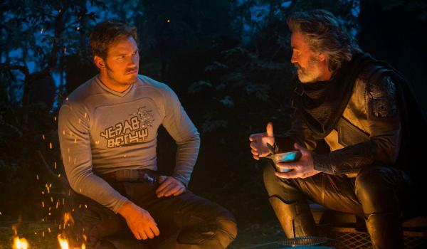 Chris Pratt and Kurt Russell in Guardians of the Galaxy 2