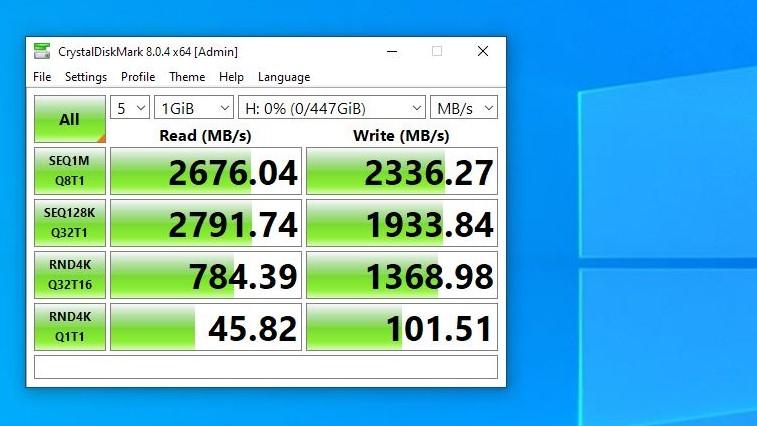 OWC Envoy Pro FX 480GB running CrystalDiskMark 8.0.4 with Default Profile