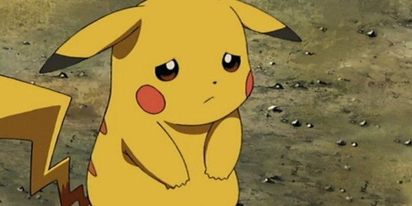 Pikachu looking sad.