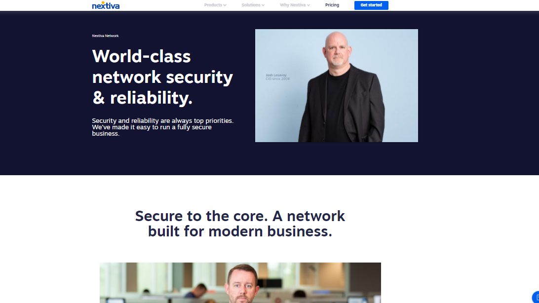 Nextiva website page which reads: world-class security and network reliability