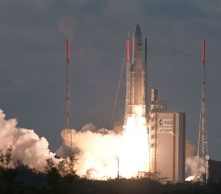 Ariane 5 rocket launches two satellites into orbit on July 5, 2012.