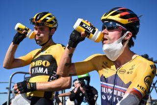 Team Jumbo rider Netherlands Tom Dumoulin L and Team Jumbo rider Slovenias Primoz Roglic drink after the 6th stage of the 107th edition of the Tour de France cycling race 191 km between Le Teil and Mont Aigoual on September 3 2020 Photo by Stuart Franklin POOL AFP Photo by STUART FRANKLINPOOLAFP via Getty Images