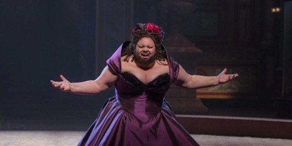 Keala Settle singing in The Greatest Showman