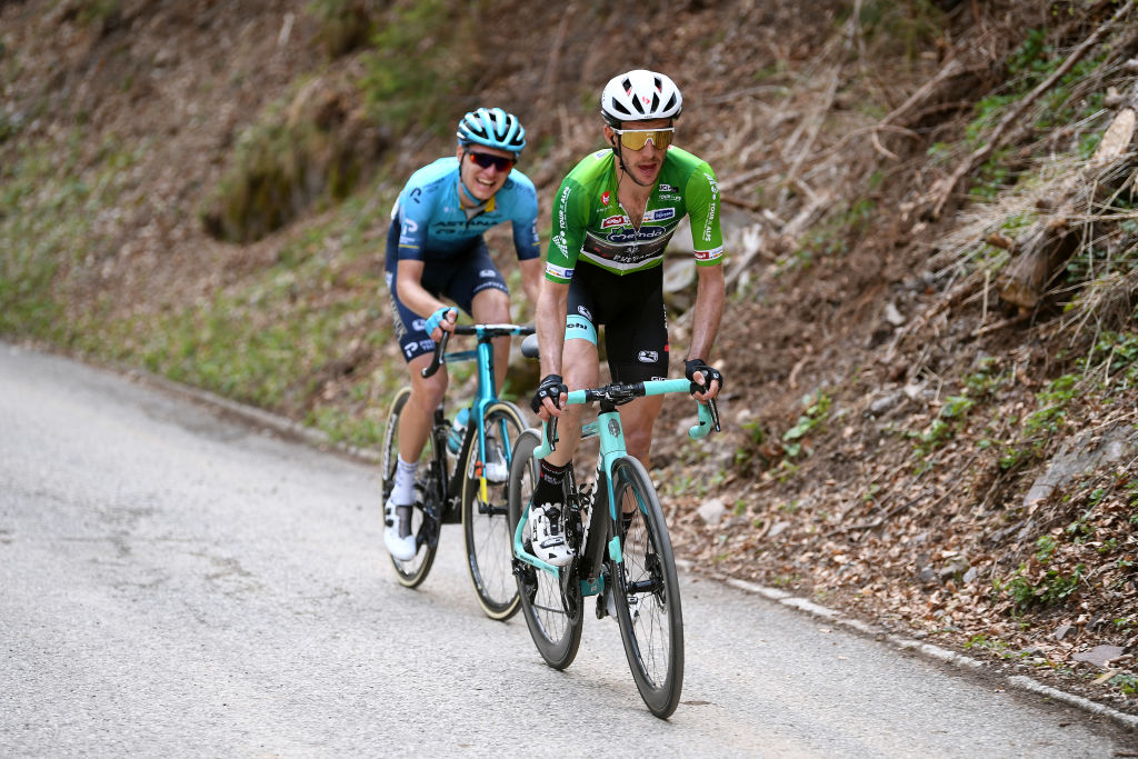 PIEVEDIBONO ITALY APRIL 22 Simon Yates of United Kingdom and Team BikeExchange green leader jersey Aleksander Vlasov of Russia and Team Astana Premier Tech attack on breakaway during the 44th Tour of the Alps 2021 Stage 4 a 1686 to stage from Naturns to Valle del Chiese Pieve di Bono TourofTheAlps TouroftheAlps on April 22 2021 in Pieve di Bono Italy Photo by Tim de WaeleGetty Images