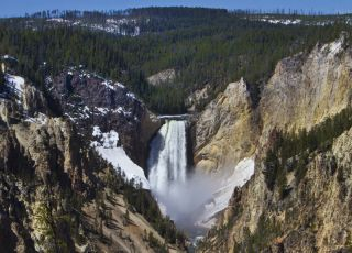 Yellowstone National Park waterfall.