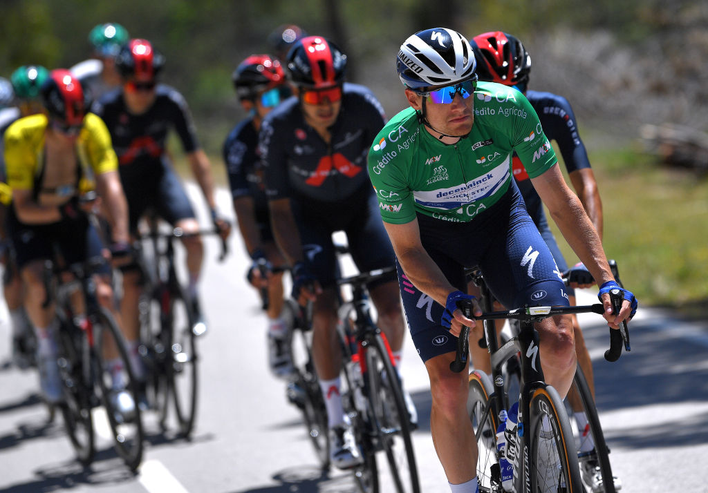 TAVIRA PORTUGAL MAY 07 Sam Bennett of Ireland and Team Deceuninck QuickStep Green Points Jersey during the 47th Volta Ao Algarve 2021 Stage 3 a 2031km stage from Faro to Tavira VoltAlgarve VAlgarve2021 on May 07 2021 in Tavira Portugal Photo by Luc ClaessenGetty Images