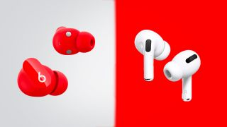 beats studio buds next to the apple airpods pro on a gray and red background