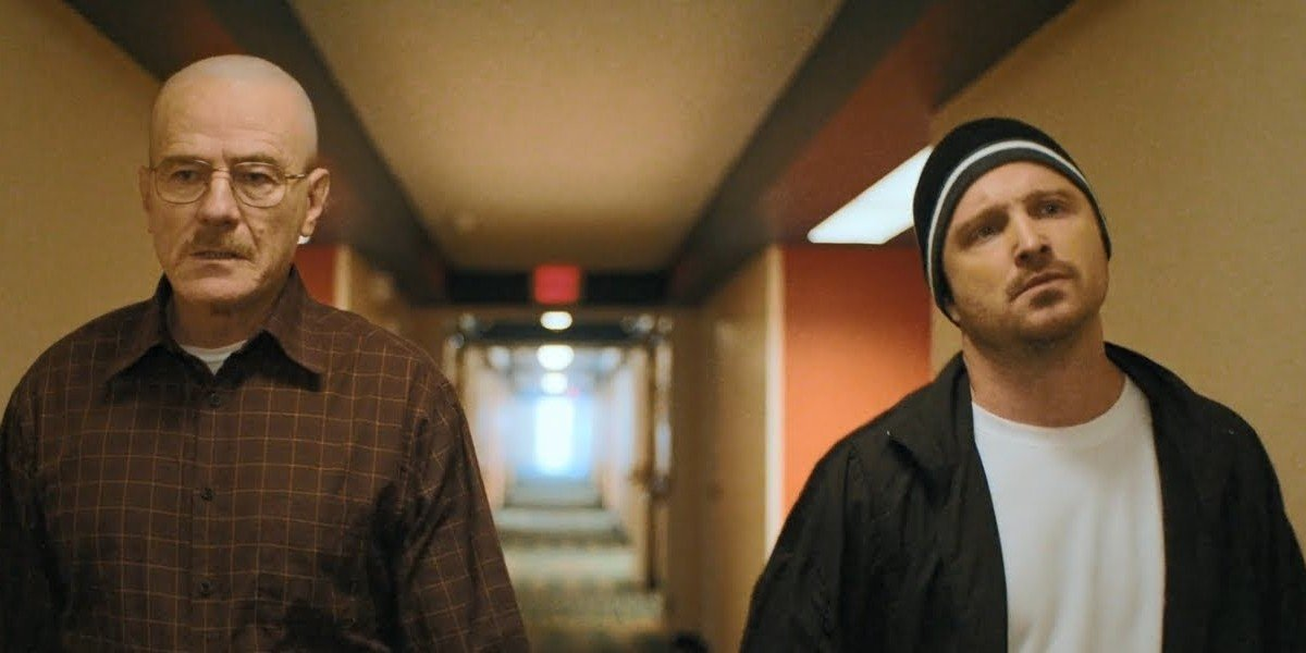 Bryan Cranston and Aaron Paul as Walter White and Jesse Pinkman in El Camino.