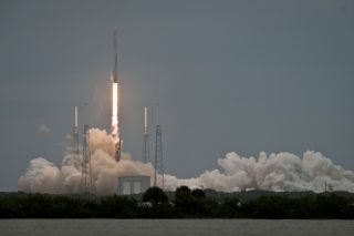 A SpaceX Falcon 9 rocket launches an unmanned Dragon cargo capsule toward the International Space Station on the company's third delivery flight for NASA on April 18, 2014. SpaceX will launch its fourth cargo mission for NASA on Sept. 20.