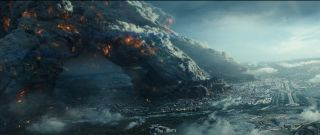 "A giant alien spaceship makes landfall on Earth in a scene from the first trailer of ""Independence Day: Resurgence"" coming in 2016."