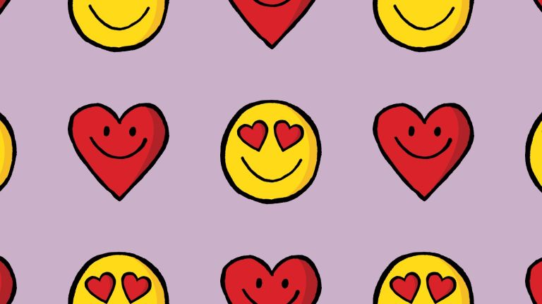 Why Prioritise own orgasm: smiley face hearts illustration purple background