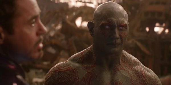 Dave Bautista playing Drax the Destroyer in Avengers: Infinity War