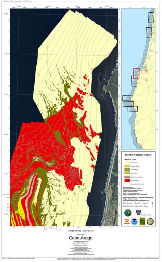 A habitat map developed by the Oregon coast seafloor mapping project near Cape Arago.