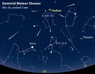 The Geminids will shine brightly this year with almost no obscuring moonlight. The most meteors will appear in the hours after midnight, although you can see a good show earlier, too.