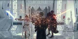 Kylo Ren and Rey destroying something together in Star Wars; The Rise of Skywalker