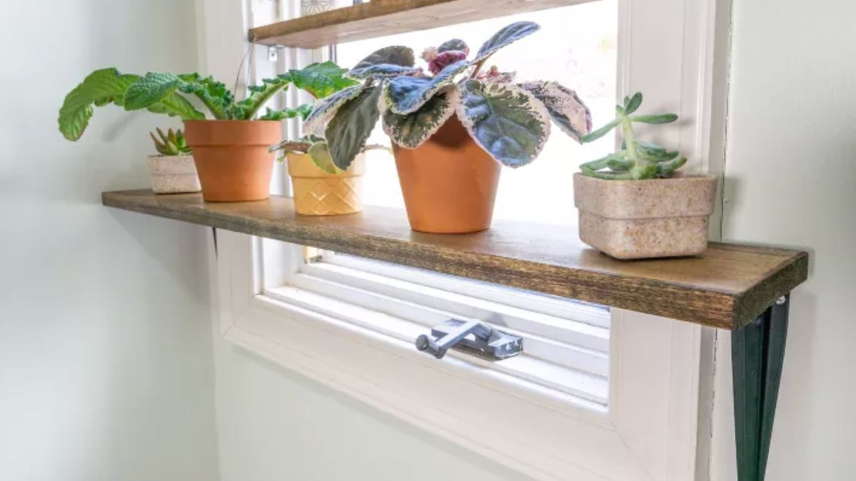 This DIY plant shelf only takes 30 minute to make