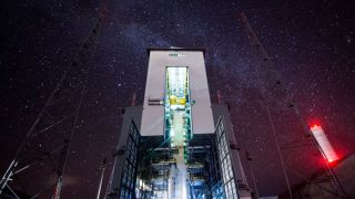 The Milky Way shines above the Guiana Space Center in French Guiana in this screenshot from a timelapse video by the European Space Agency.