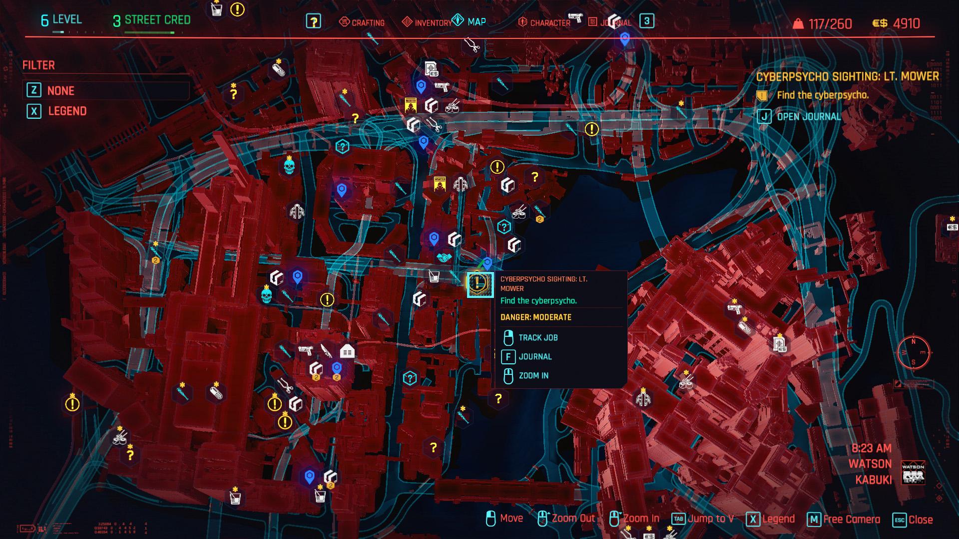 Cyberpunk 2077 Lt Mower Cyberpsycho Sightings locations