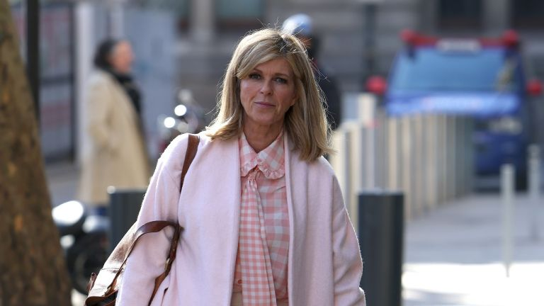 Kate Garraway seen arriving at Smooth Radio Studios on February 26, 2021 in London, England