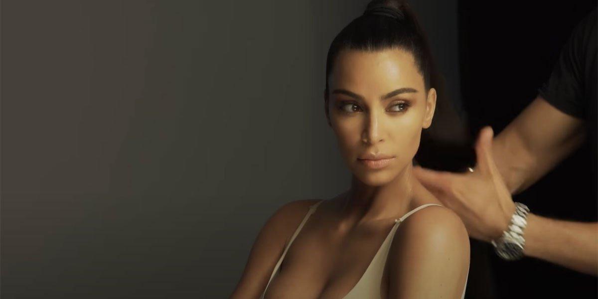 Kim Kardashian screenshot of SKIMs beauty photoshoot
