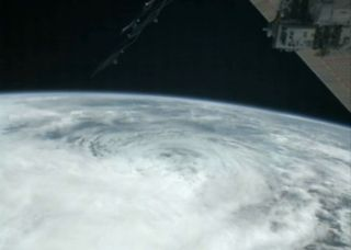 ISS image of hurrican sandy from above