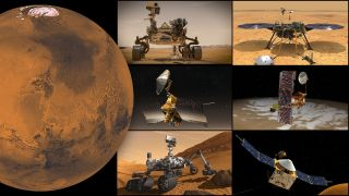 NASA's Mars missions will go offline during a temporary communications blackout in October 2021. (Clockwise, from top left: Perseverance rover, Ingenuity helicopter, InSight lander, Odyssey orbiter, MAVEN orbiter, Curiosity rover and Mars Reconnaissance Orbiter)