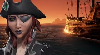 A Sea of Thieves pirate stands before a ship.