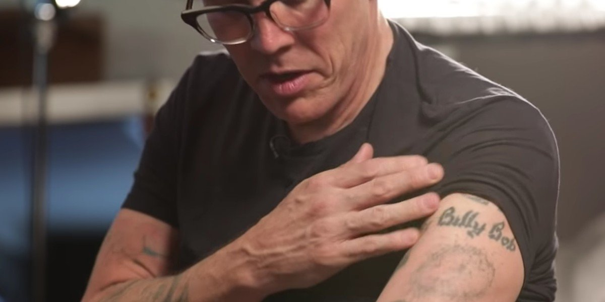 """Steve-O displaying the """"Off-Road Tattoo"""" years later"""