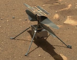 NASA's Perseverance rover acquired this image of the Ingenuity Mars helicopter on the floor of Jezero Crater.