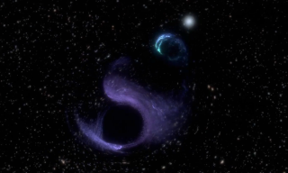 An artists' impression shows a black hole swallowing a mysterious smaller object in deep space.