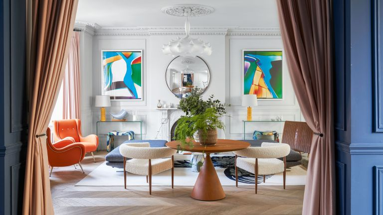 Mid-century modern living room ideas in a neutral scheme with bright pops of color.