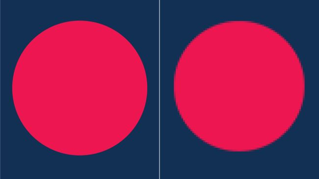 Comparison between a raster graphic and vector graphic