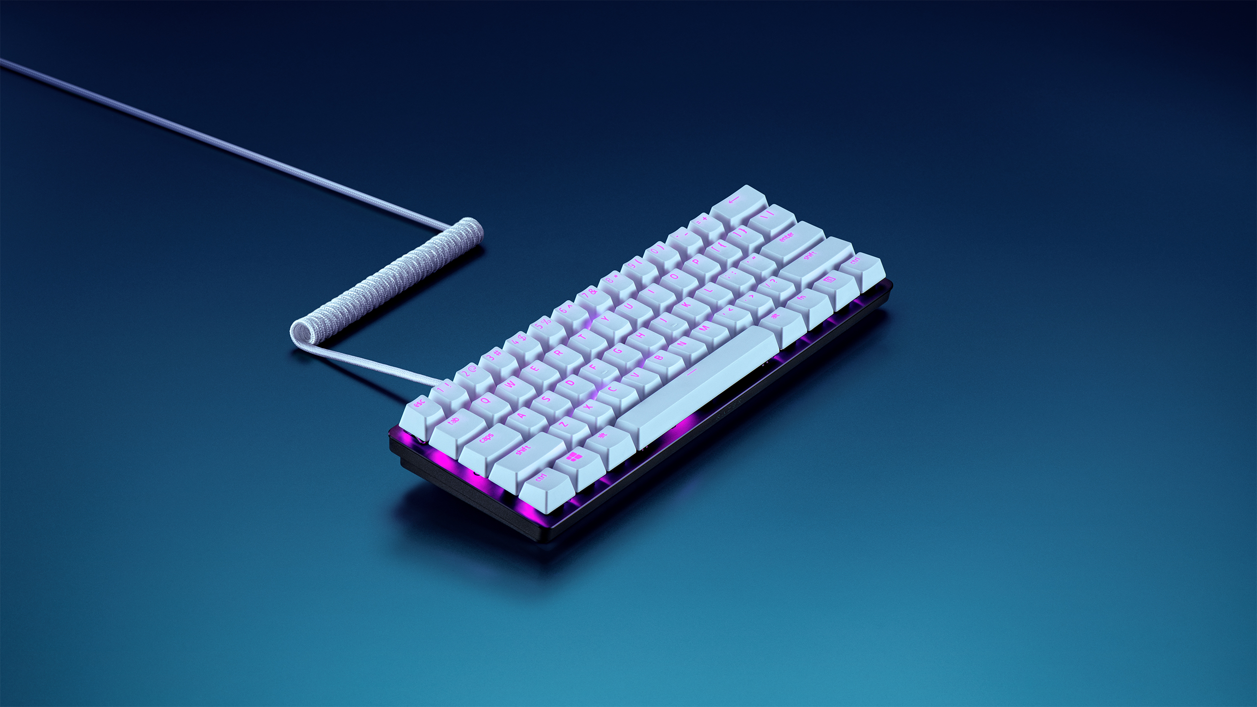 Razer PBT keycaps with coiled cable in multiple colour combinations