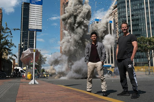 Iko Uwais and Peter Berg on the set of Mile 22