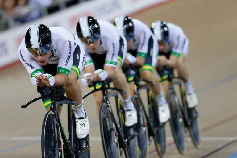 The Australian team pursuit squad were well drilled in the final, getting the better of the Great Britain quartet from the gun.