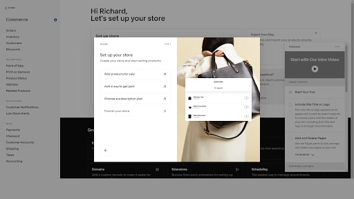 Squarespace's online store creation tool in use