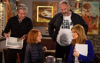 Nicola is worried in Emmerdale