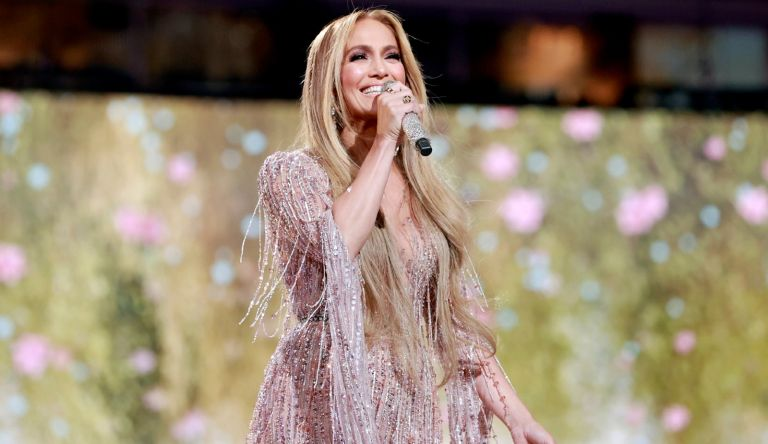 Jennifer Lopez performs onstage during Global Citizen VAX LIVE: The Concert To Reunite The World at SoFi Stadium in Inglewood, California.